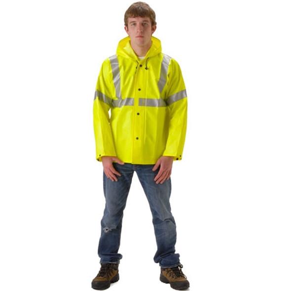 NASCO Class 3 Hi Vis WorkChoice Rain Jacket 513JF Yellow
