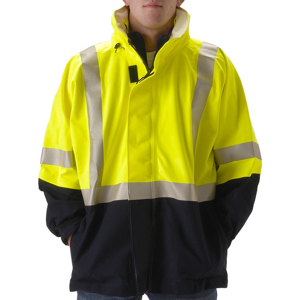 NASCO FR Class 3 Hi Vis Yellow Omega Flash Fire Arc Rated Rain Jacket 5503JNFY Close Up