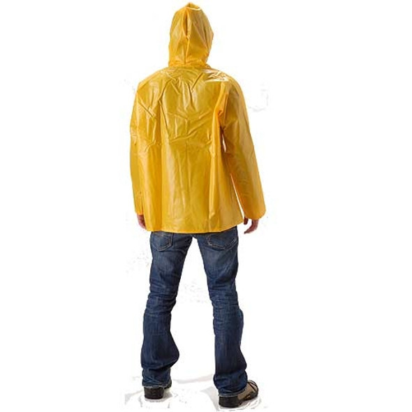 NASCO ASTM D751 WorkHard Waist Length Industrial Rain Jacket With Hood 61JSY Back