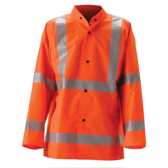 NASCO Class 3 Hi Vis WorkLite Made in USA Full Length Raincoat 80CFY455 Orange