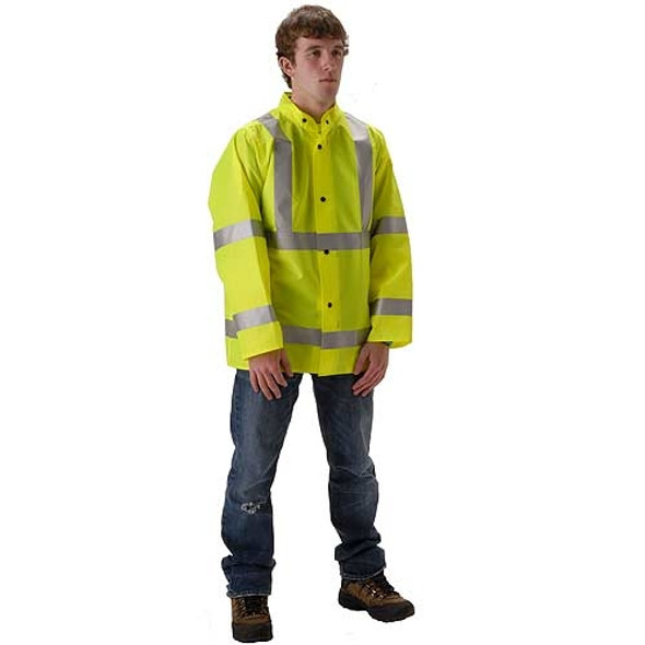 NASCO Class 3 Hi Vis WorkLite Rain Jacket with D-Ring Access 80JF Yellow