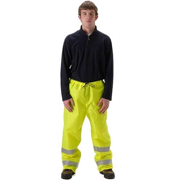 NASCO Class E Hi Vis WorkLite Elastic Waist Made in USA Rain Pants 81PF