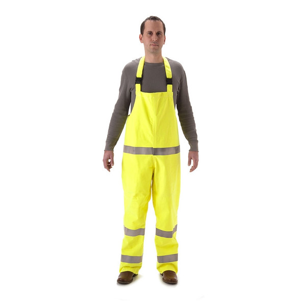 NASCO FR Class E Hi Vis Yellow Rampart Polartec Made in USA Lined Bib Overall 8500TFY Front