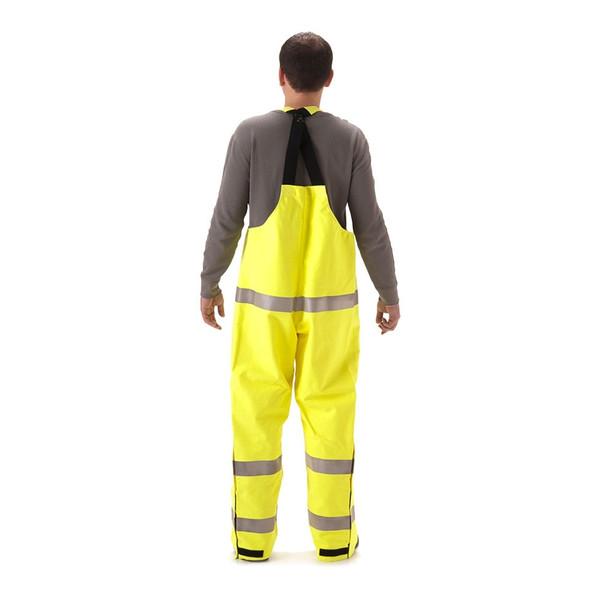 NASCO FR Class E Hi Vis Yellow Rampart Polartec Made in USA Lined Bib Overall 8500TFY Back