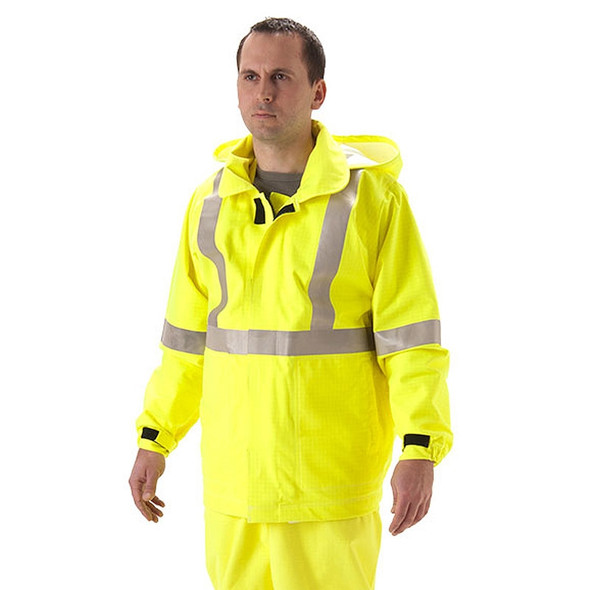 NASCO FR Class 3 Hi Vis Yellow Rampart Polartec Lined Rain Jacket 8503JFY