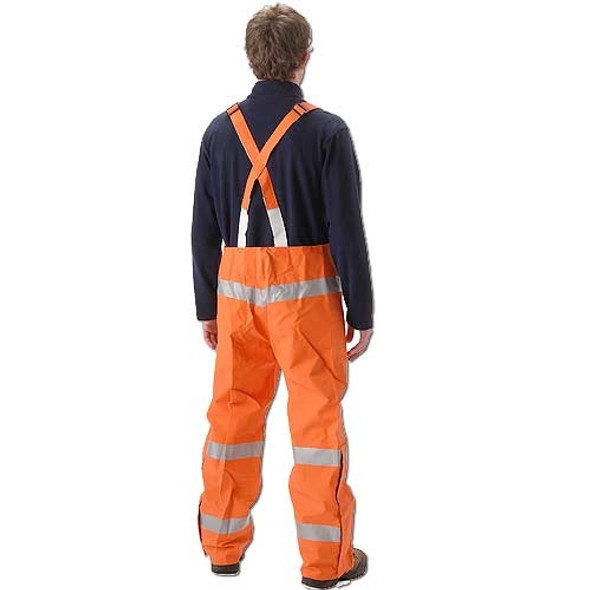 NASCO FR Class 3 Hi Vis Orange PetroLite Arc Flash Fire Chemical Splash Bib Trouser 9000TBO245 Back