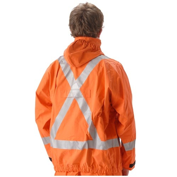 NASCO FR Class 2 Hi Vis X-Back Orange PetroLite Arc Flash Fire & Chemical Splash Rain Jacket 9003JBO245 Back