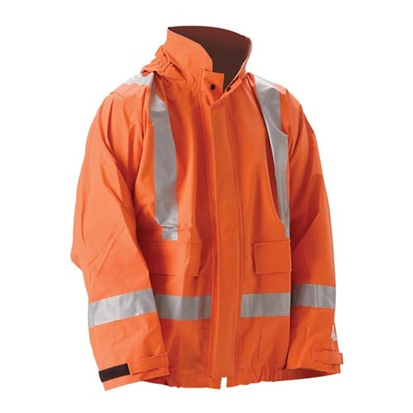 NASCO FR Class 2 Hi Vis X-Back Orange PetroLite Arc Flash Fire & Chemical Splash Rain Jacket 9003JBO245 Front