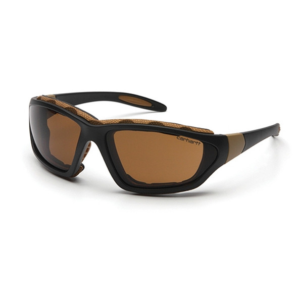 Carhartt Box of 12 Carthage Black-Tan Frame Anti Fog Bronze Lens Safety Glasses CHB418DTP