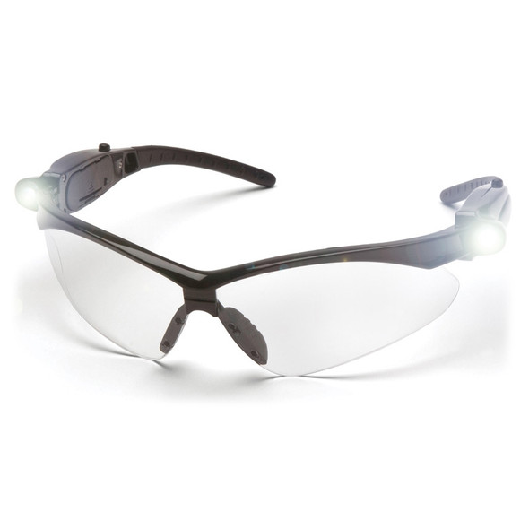 SB6310STPLED Pyramex Safety Glasses PMXTREME Clear Anti-Fog Lens with LED Temples