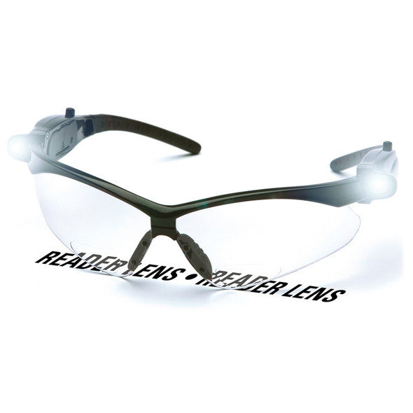 SB6310STPLEDR25 Pyramex Safety Glasses PMXTREME READERS Clear Anti-Fog +2.5 Lens with LED Temples
