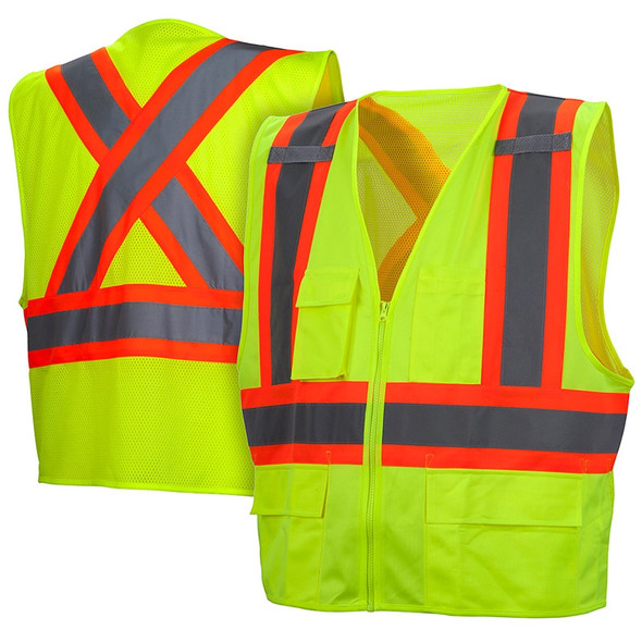 Class 2 X-Back Two-Toned Lime Safety Vest RCZ2410