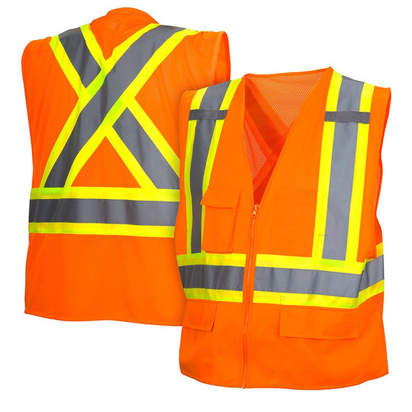 Class 2 X-Back Two-Toned Orange Safety Vest RCZ2420