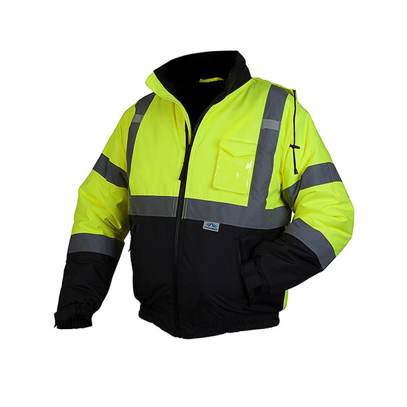 Pyramex Class 3 Hi Vis Lime Black Bottom Weatherproof Bomber Jacket Quilted Liner RJ3210 Front