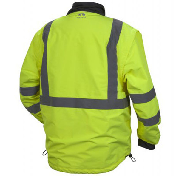 Pyramex Class 3 Hi Vis Lime Weather Resistant 4-in-1 Reversible Jacket with Zip Off Sleeves RJR3410 Jacket Back