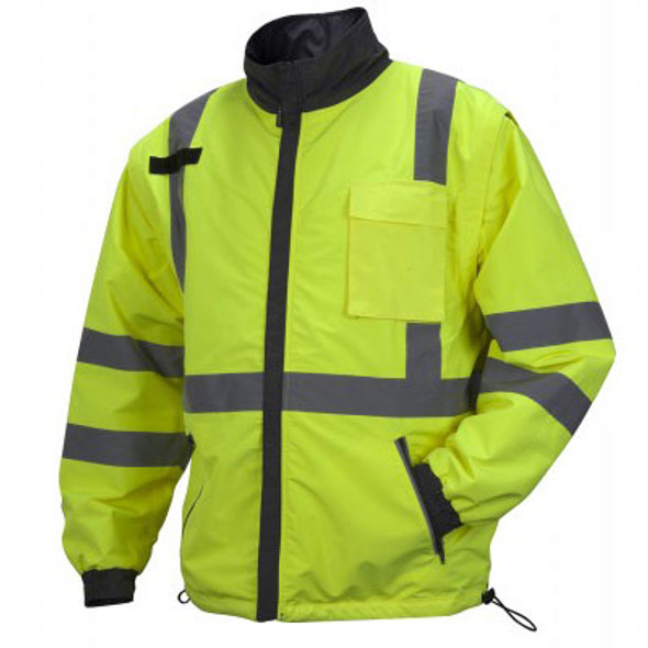 Pyramex Class 3 Hi Vis Lime Weather Resistant 4-in-1 Reversible Jacket with Zip Off Sleeves RJR3410 Jacket Front
