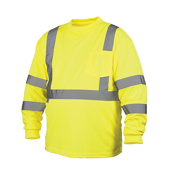 Pyramex Class 3 Hi Vis Lime Moisture Wicking Long Sleeve T Shirt RLTS3110 Front