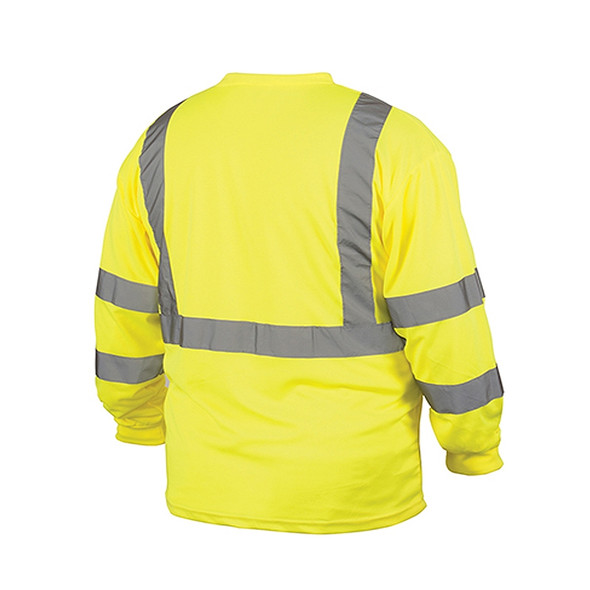 Pyramex Class 3 Hi Vis Lime Moisture Wicking Long Sleeve T Shirt RLTS3110 Back