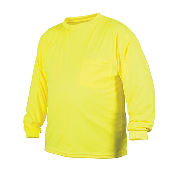 Pyramex Non-ANSI Hi Vis Lime Long Sleeve Moisture Wicking T-Shirt RLTS3110NS Front