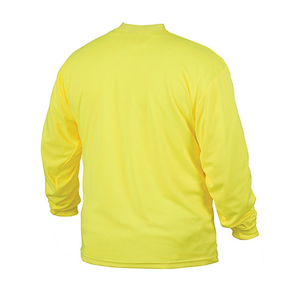 Pyramex Non-ANSI Hi Vis Lime Long Sleeve Moisture Wicking T-Shirt RLTS3110NS Back