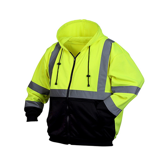 Pyramex Class 3 Hi Vis Zip-Up Black Bottom Hooded Sweatshirt RSZH3210