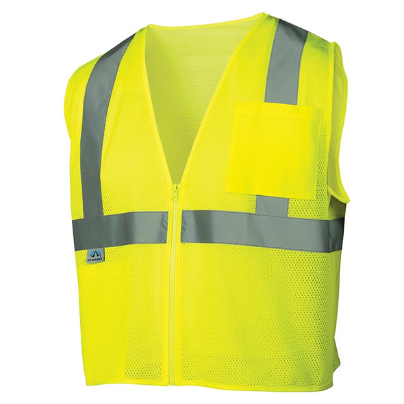 Pyramex Class 2 Hi Vis Lime Safety Vests RVZ2110 Front