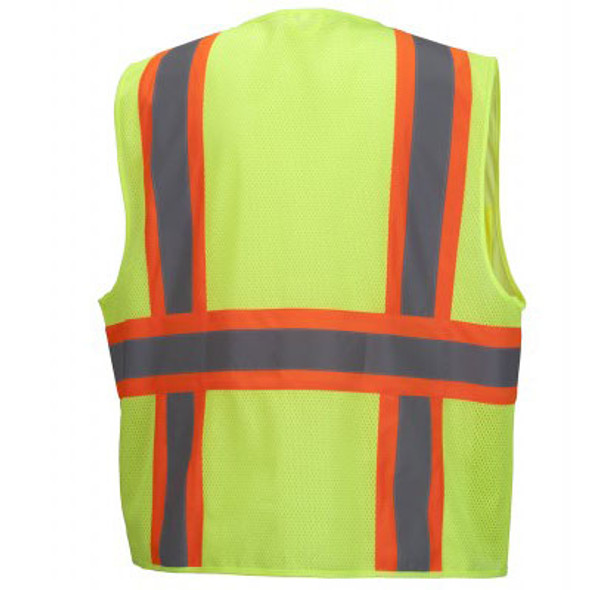 Pyramex Class 2 Hi Vis Economy Two-Tone Mesh Safety Vests RVZ2310 Lime Back