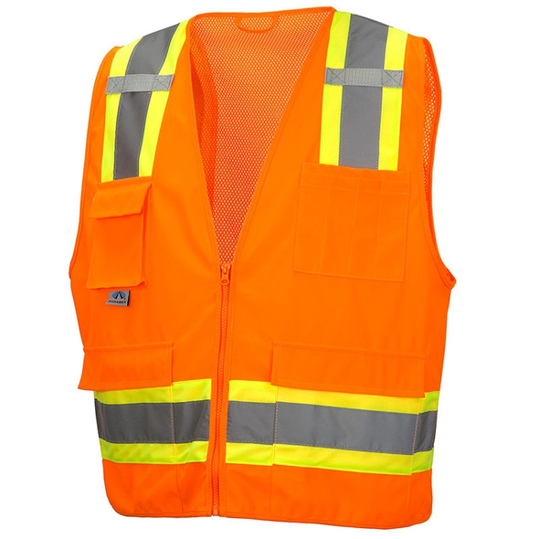Pyramex Class 2 Hi Vis Orange Two-Toned Safety Vests RVZ2420 Front