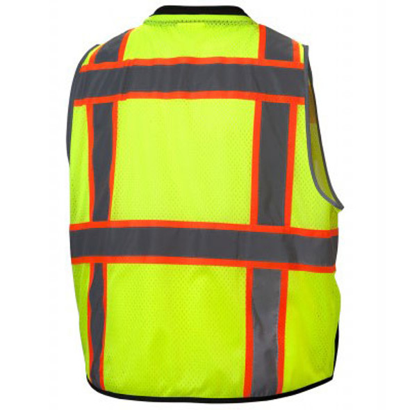 Pyramex Class 2 Hi Vis Black Bottom Surveyors Vest with iPad Pockets RVZ4410 Back