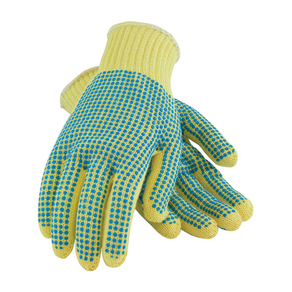 PIP Box of 72 Pair A3 Hi Vis Kut-Gard Seamless Knit Kevlar Dot Grip Safety Gloves 08-K300PDD Top