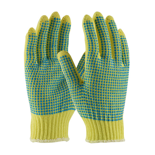 PIP Box of 72 Pair A3 Hi Vis Kut-Gard Seamless Knit Kevlar Dot Grip Safety Gloves 08-K300PDD Pair