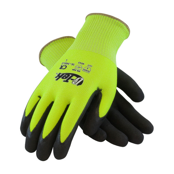 PIP Box of 72 Pair A3 Cut Level G-Tek Hi-Vis Lime Green PolyKor Safety Gloves 16-340LG Top