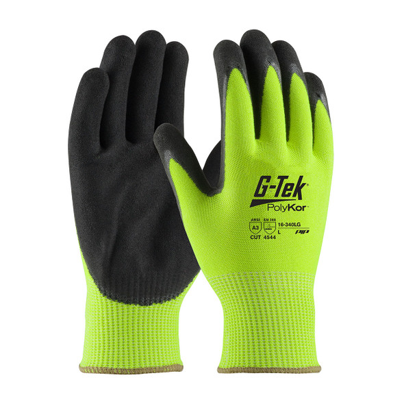 PIP Box of 72 Pair A3 Cut Level G-Tek Hi-Vis Lime Green PolyKor Safety Gloves 16-340LG Pair