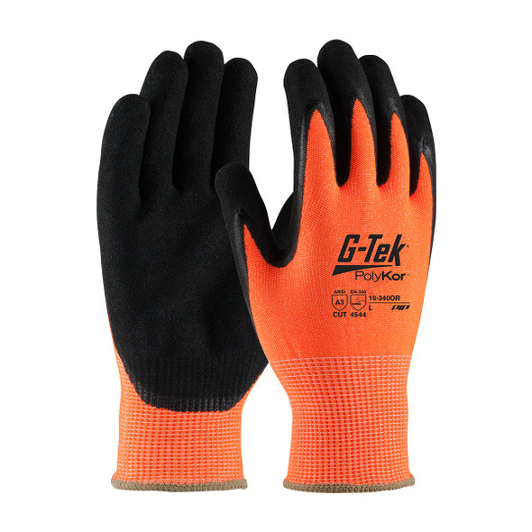 PIP Box of 72 Pair A3 Cut Level G-Tek Hi-Vis Orange PolyKor Gloves with Nitrile Grip 16-340OR