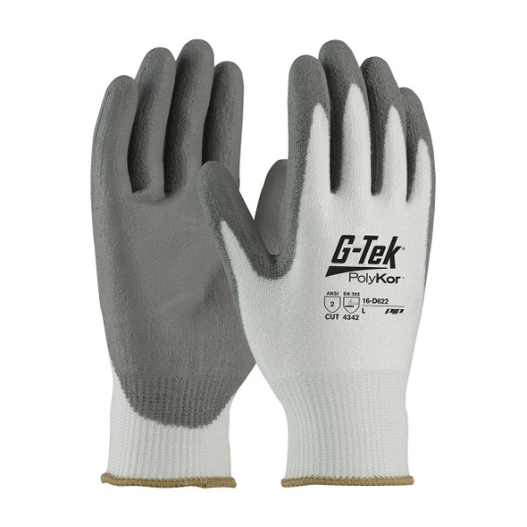 PIP Case of 72 Pair A2 Cut Level Seamless Knit PolyKor Polyurethane Grip Gloves 16-D622