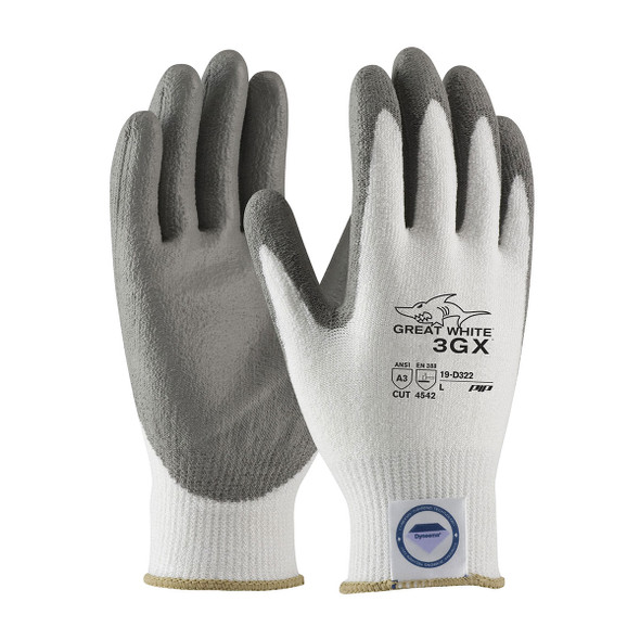 PIP Case of 72 Pair A3 Cut Level Seamless Knit White  Dyneema Work Gloves 19-D322