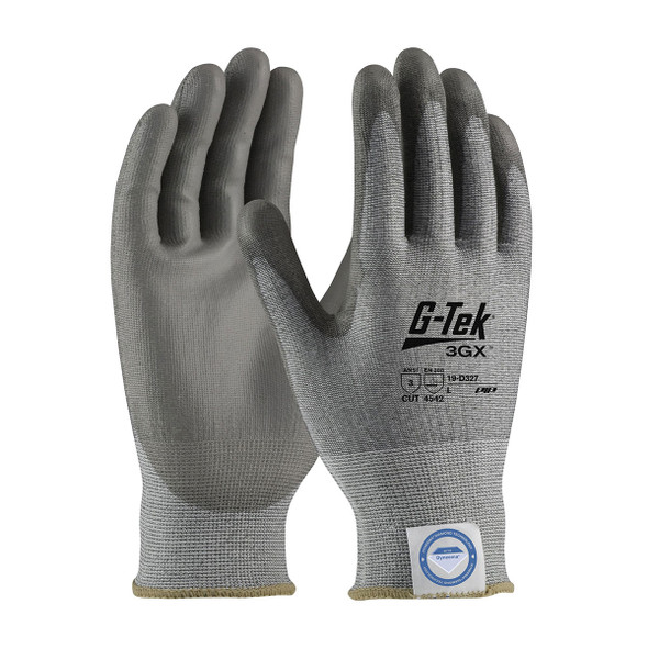 PIP Case of 72 Pair A3 Cut Level G-TEK 3GX Seamless Gray Smooth Grip Safety Gloves 19-D327