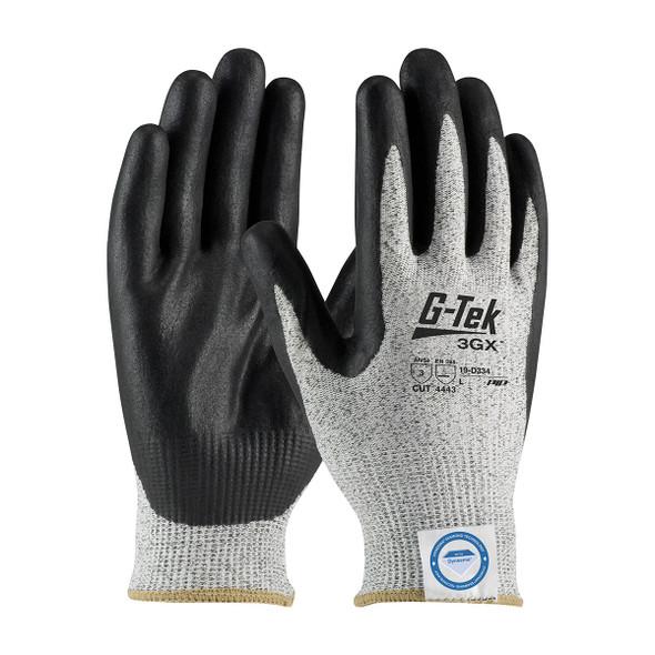 PIP Case of 72 Pair A3 Cut Level G-TEK 3GX Black Nitrile Grip Work Gloves 19-D334