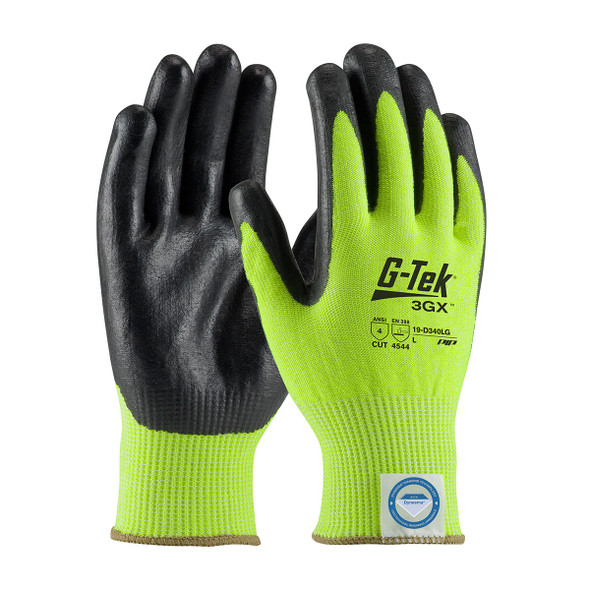 PIP Box of 72 Pair A4 Cut Level G-TEK 3GX Seamless Knit Hi Vis Lime Green Work Gloves 19-D340LG Pair