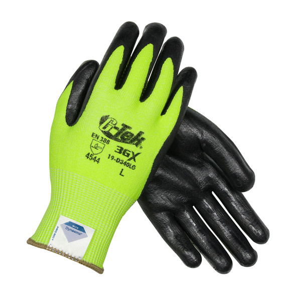 PIP Box of 72 Pair A4 Cut Level G-TEK 3GX Seamless Knit Hi Vis Lime Green Work Gloves 19-D340LG Top