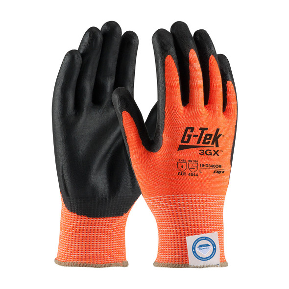 PIP Box of 72 Pair A4 Cut Level Hi Vis Orange Dyneema Nitrile Coated Safety Gloves 19-D340OR Top