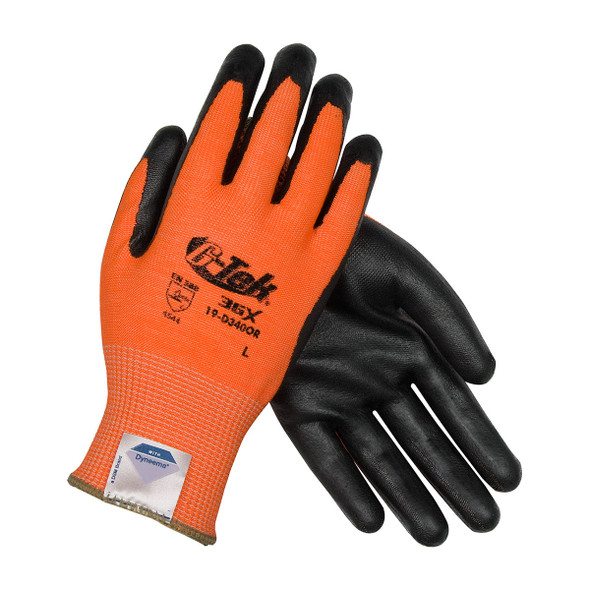 PIP Box of 72 Pair A4 Cut Level Hi Vis Orange Dyneema Nitrile Coated Safety Gloves 19-D340OR Crossed