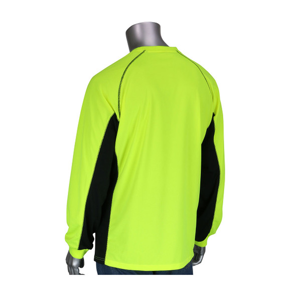 PIP Non-ANSI Hi Vis LS T-Shirt with Insect Repellent and UPF 50 Protection 310-1150B Back