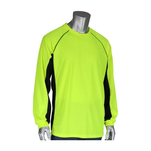 PIP Non-ANSI Hi Vis LS T-Shirt with Insect Repellent and UPF 50 Protection 310-1150B Front