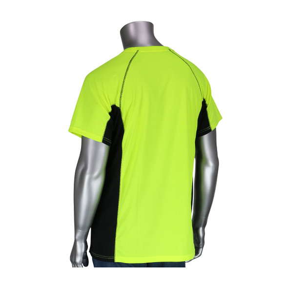 PIP Non-ANSI Hi Vis Yellow T-Shirt with Insect Repellent and UPF 50 Protection 310-950B Back