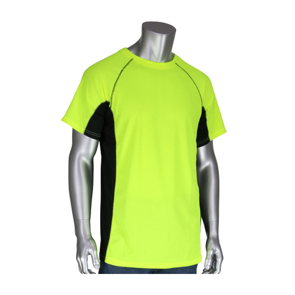 PIP Non-ANSI Hi Vis Yellow T-Shirt with Insect Repellent and UPF 50 Protection 310-950B Front