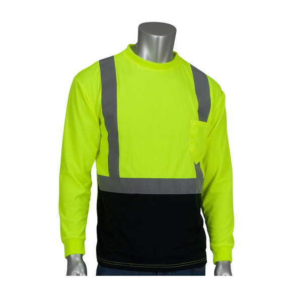 PIP Class 2 Hi Vis Long Sleeve T-Shirt Black Bottom 312-1350B Yellow Front