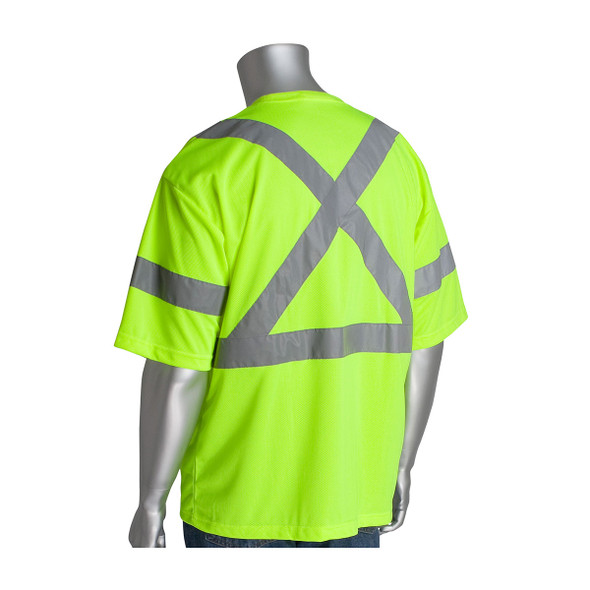 PIP Class 3 Hi Vis X Back T-Shirt PIP 313-1400 Yellow Back