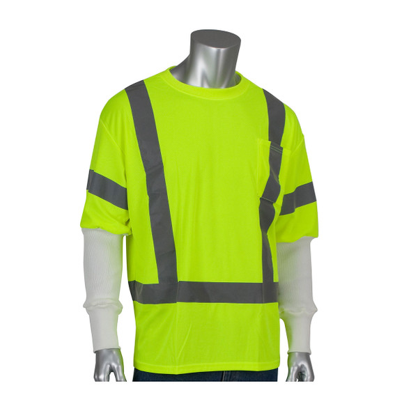 PIP Class 3 Hi Vis T-Shirt with Pritex Antimicorbial Sleeve 313-CNTSELY-PRI18W