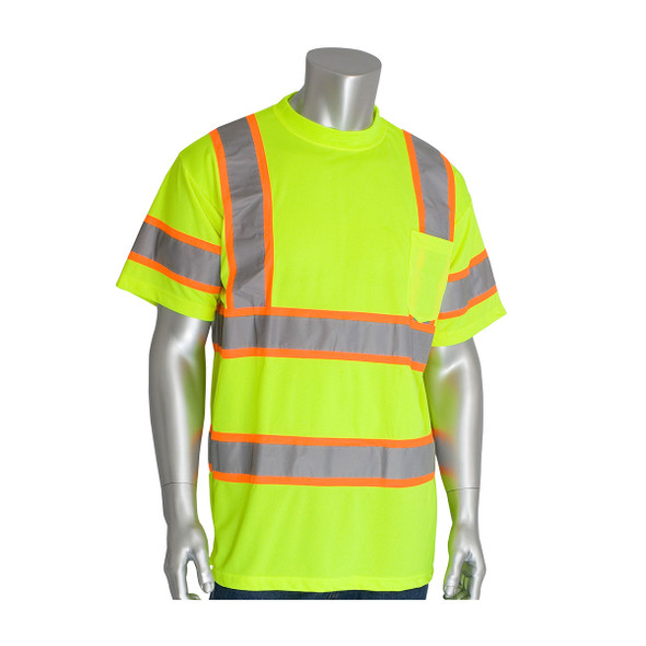 PIP Class 3 Hi Vis Short Sleeve T-Shirt Two Tone Tape 313-CNTSP Yellow